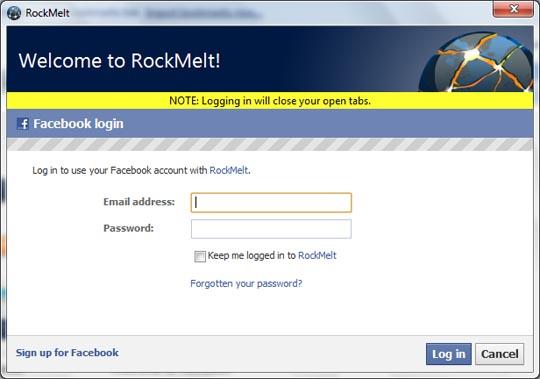 rockmelt browser welcome screen