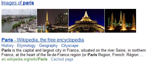bing search result for paris