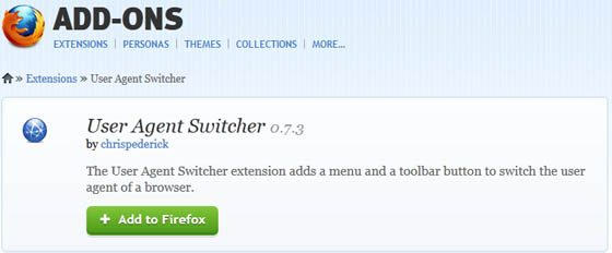 Firefox User Agent Switcher Addon