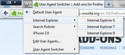 Firefox User Agent Switcher Click