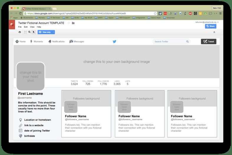 Twitter Fictional Account Template Gdrawing Tech 2 Teach