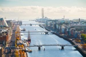 Dublin City view towards the sea