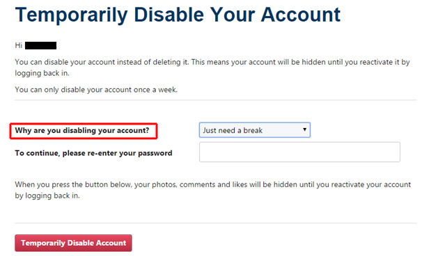 Why you want to disable your account