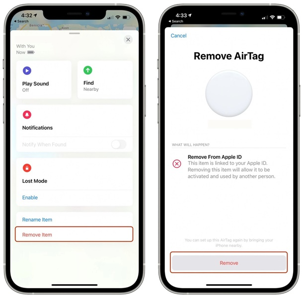 remove airtags apple