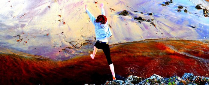 neil1877 leap of faith future jumping girl hiking mountain snow landscape high