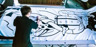 Air Ink Drawing Painting Inside Canvas