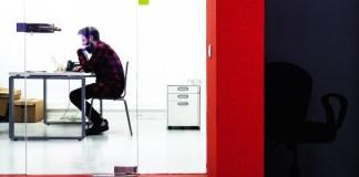 Man Sitting Thinking Pondering Wondering Working Desk Laptop Office Think Tank Productivity KPI