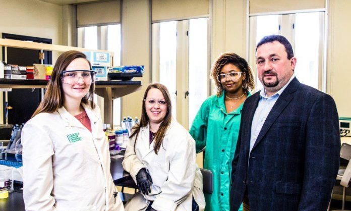 Nov 2, 2017 - Assistant Professor Jan Halámek, Ph.D working with Erica Brunelle, 4th year Chemistry PhD candidate; Mindy Hair, 2nd year Chemistry PhD candidate; and Adrianna Mathis '18 Chemistry. Photo by Carlo de Jesus
