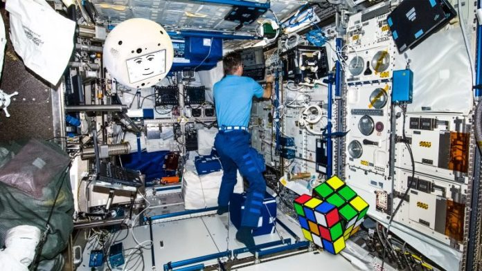 CIMON ISS Airbus IBM Watson AI Companion Space Crew Support Ball Sphere Rubik Cube Exercises Manuals Display Face Hal 9000