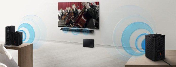 Samsung Soundbar HW-M450 Unboxing SWA-8500SEN Wireless Rear Lautsprecher Kit Room Setup Example No Cables_edited