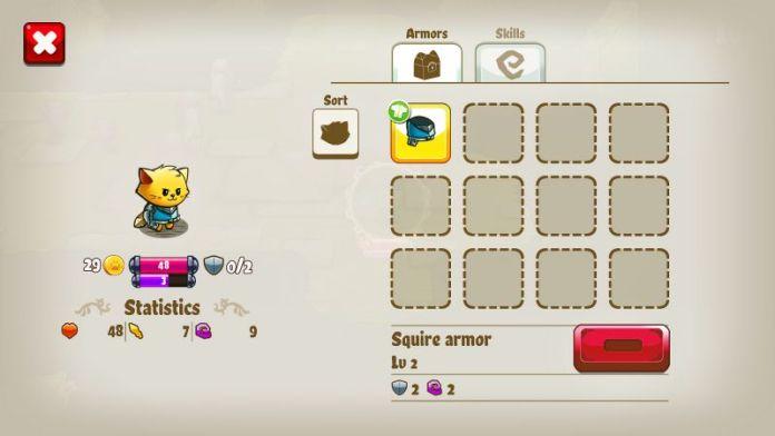 Cat Quest Screenshot Skills Items Gear Screen Armor RPG Review Cats Fantasy