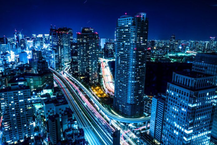 night shot inHamamatsucho 2 Chome Tokyo Japan blue city urban high time lapse lighting cars blurred speed cryptocurrency pair trading forex cfd platform captial com