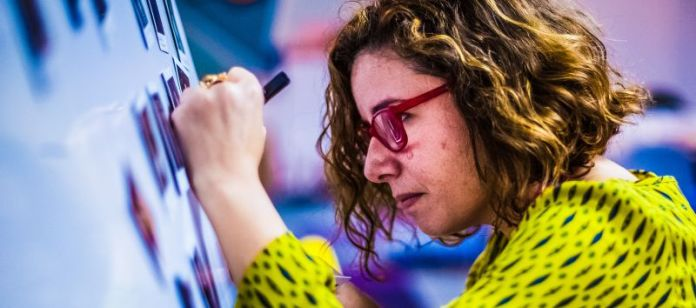 European Green Communication Workshop Woman Writing Wall Whiteboard Working Productivity