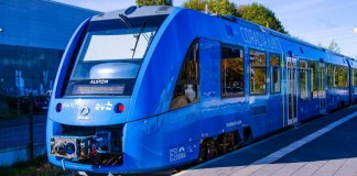 Alstom Coradia iLint Hydrails Hydrogen Train Rural Germany Prototype Green Commute Travel Front View Photo