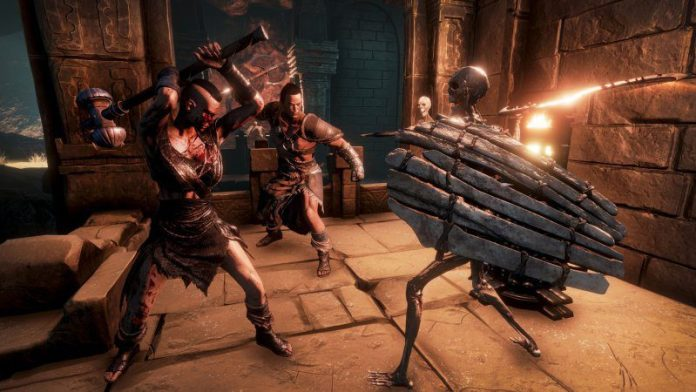 Conan Exiles Fantasy Survival Game Review Funcom Article Outside Graphics Skeleton Cave Inside