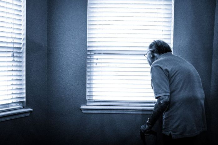 Disability Elderly Status Definition Man Looking Outside Window Room Inside Blinds