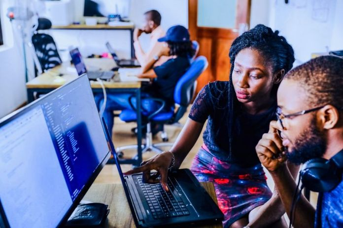 Coding Working Together Computer Laptop Collaboration New Startup Founders Young Domain Name Tech Teamwork