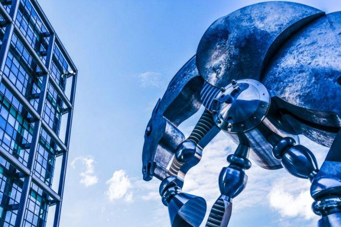 Metal-Mechanical-Horse-Statue-AI-Rules-Laws-Sky-Cloud-Building