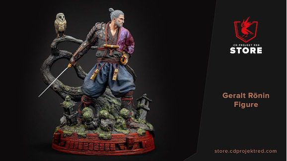 CD Projekt Red Store Buying Cyberpunk 2077 Witcher Gwent Gaming Gear Geralt Ronin Samurai Figure