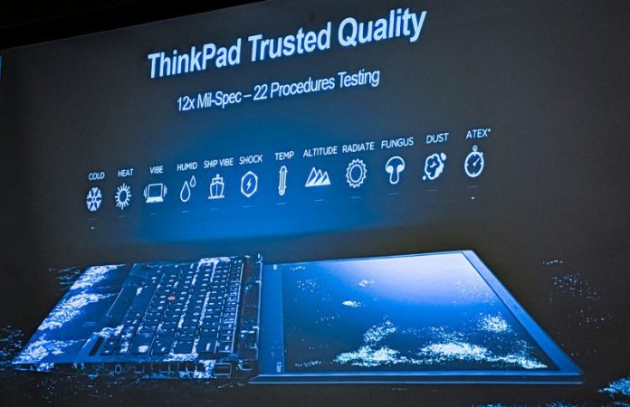 ThinkPad Trusted Quality Procedues Testing Cold Heat Vibe Humid Ship Shock Temperature Altitude Radiate Fungus Dust Atex Worlds First Foldable PC Laptop X1 Lenovo