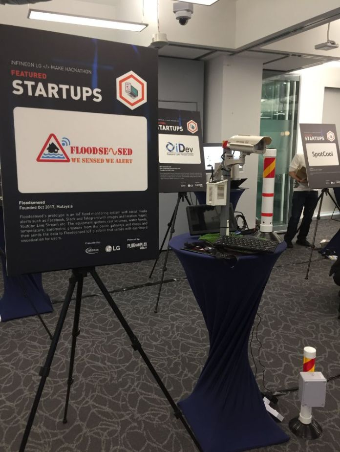 Floodsensed Booth IoT Alert Smart City Infineon LG Hackathon Crop