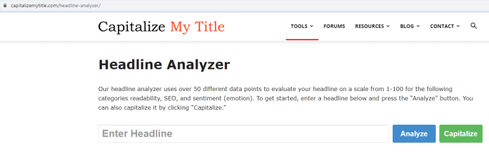 Blogging Title Headline Analyzer Tool How To Tutorial Screenshot 1