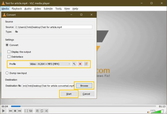 Bulk Mov To Mp4 Video Conversion Free Easy VLC Step 5
