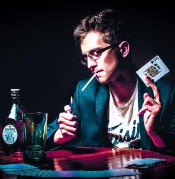 Man Smoking Cigarete Playing Poker Pro
