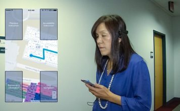 IBM Research Chieko Asakawa who is herself blind tests the Navcog app indoor navigation visually impaired