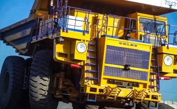 BELAZ 7513R autonomous and robotized haul truck 5G operated unmanned vehicle mining operations Russia Huawei Eurasia Zyfra SUEK TD Tech