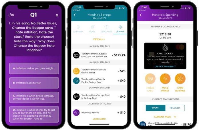 Goalsetter Cashola Card App Screenshots Quiz Transactions Example
