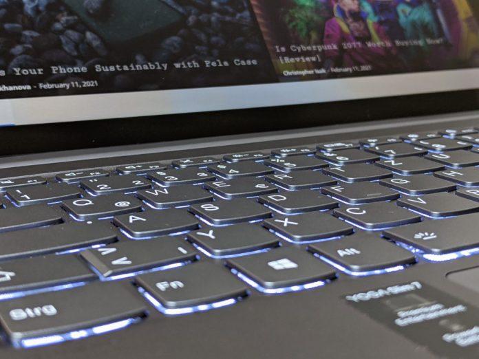 Lenovo Yoga Slim 7 Keyboard Close Up