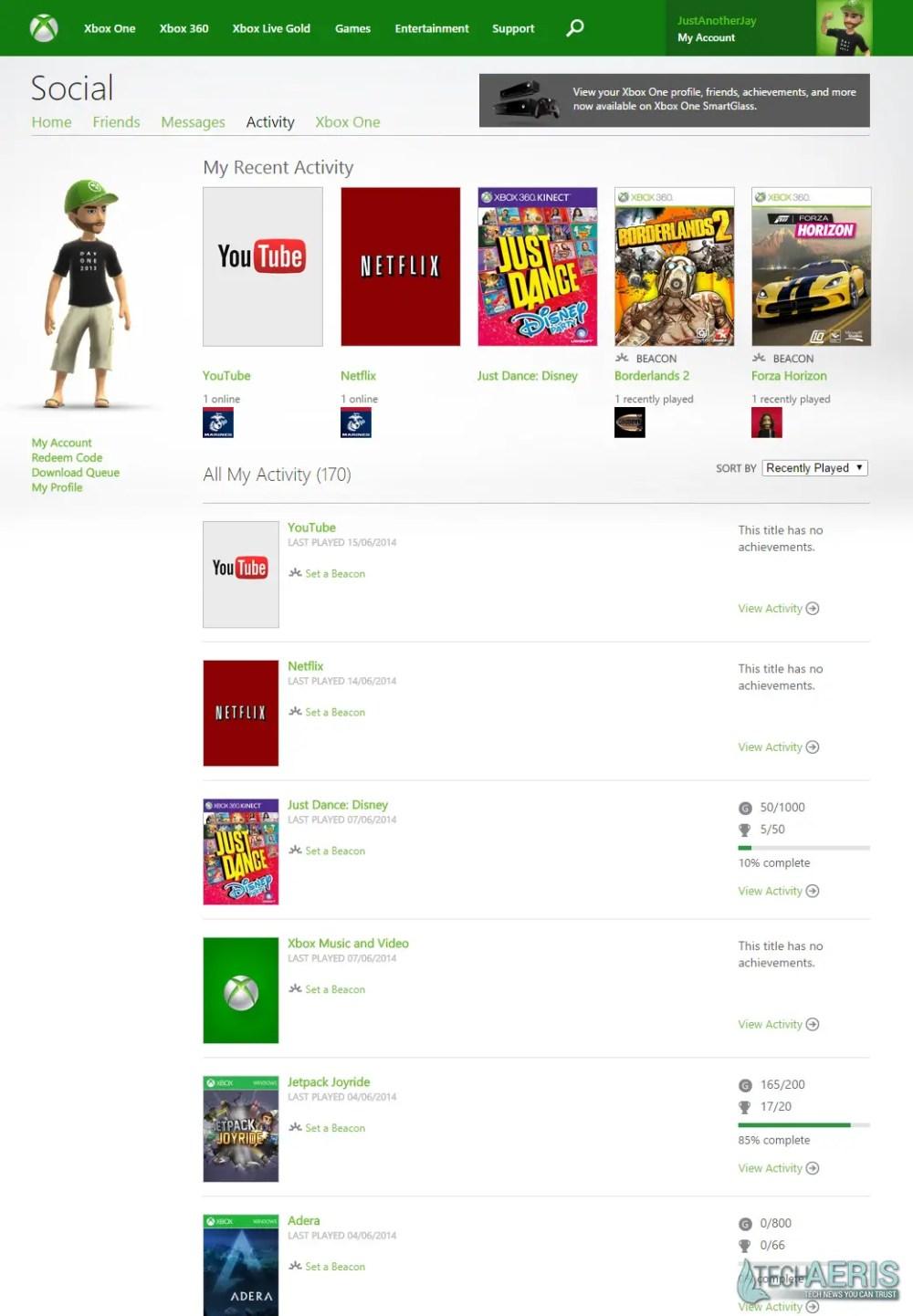 XBL Achievements Website Current Version - Overview Screenshot