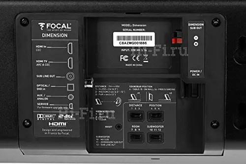 Focal Dimension Soundbar connection ports (image courtesy Focal).