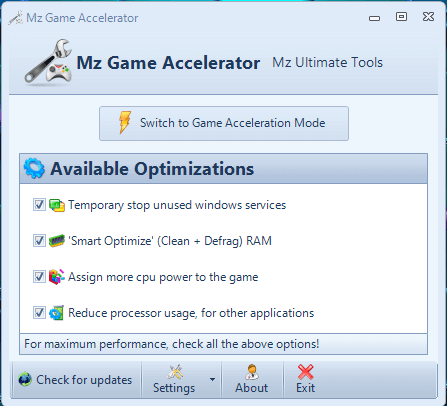 """install the """"Mz Game Accelerator"""""""