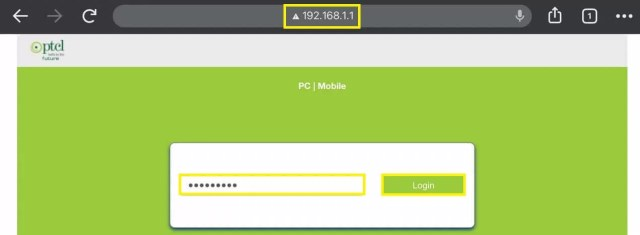 Open the browser and enter PTCL IP