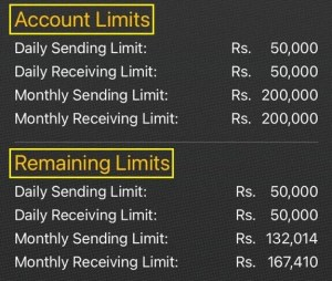 Jazz Account Limit will display