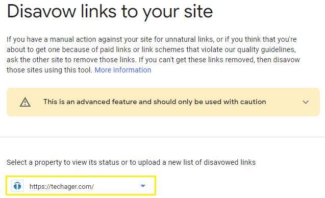 """You have to open the """"Google Disavow Tool"""" and select the correct """"property"""""""