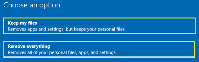 all PC settings, personal files, and apps will be removed