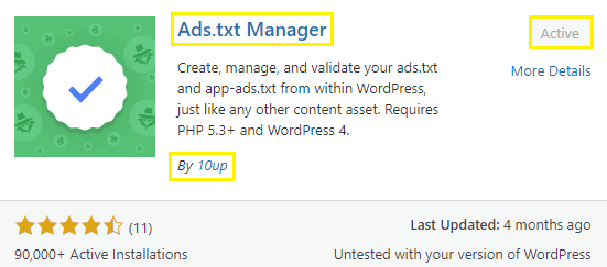 """install the """"Ads.txt Manager"""" plugin"""