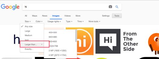 Google Image Sizes inside the Tools