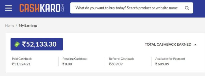 My Savings on Online Shopping from CashKaro crossed half lakh !