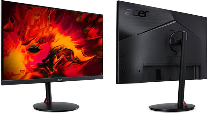 Acer Nitro XV252Q F gaming monitor front and back