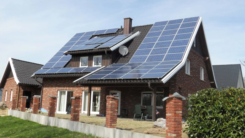 A Typical solar panel installation in a home