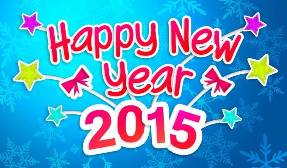 Blue Happy New Year 2015 Greeting Card images