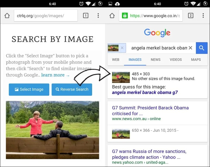 Reverse Image Search on your Mobile Phone