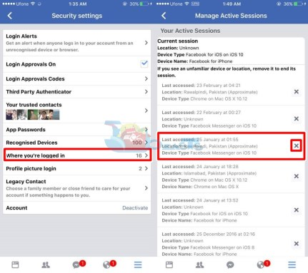 Logout of Facebook Messenger on iPhone