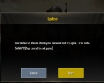 PUBG Mobile Internet error. Please check your network and try again. Error code: 154140712