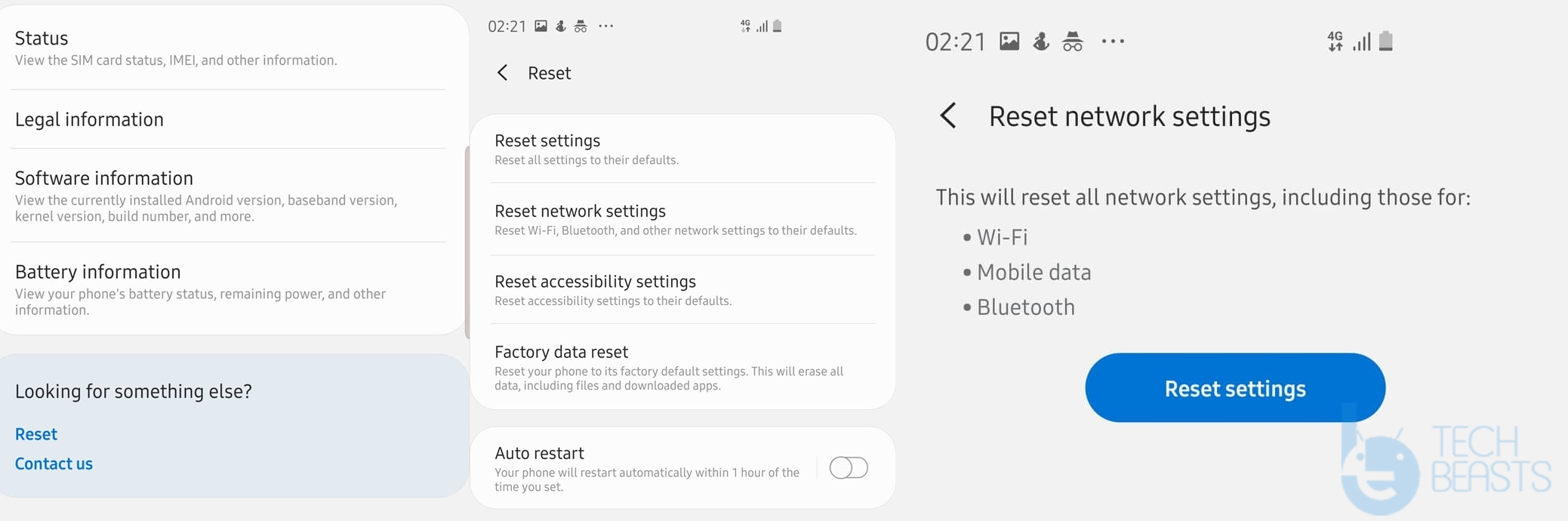 Galaxy S10 - Reset Network Settings.