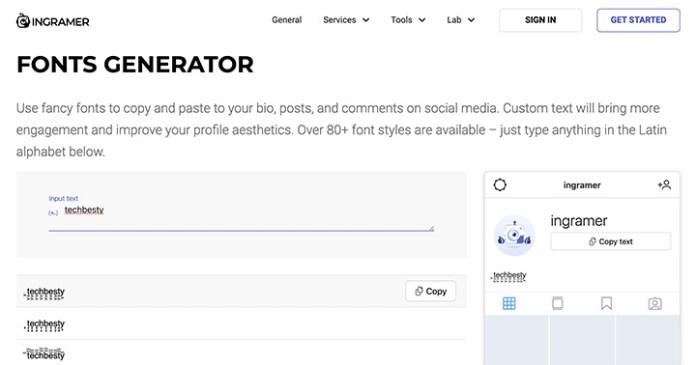 13個免費在線Instagram字體產生器推薦 - ingramer字體生成器